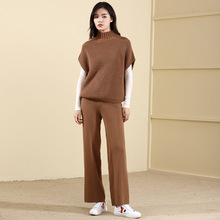 2018 Autumn And Winter New arrival tuitleneck Batwing sleeve pullover sweater and wool blends knitting pants knitting suit 18086 su yue fang 2018 new arrivel sweater knitting 1000 different pattern book hooked need and knitting needle skill textbook