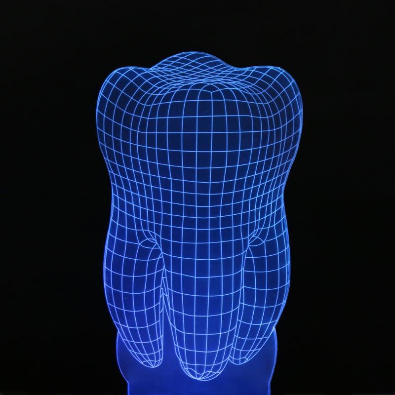 Tooth Shape LED Night Lights 3D Illusion LED Desk Lamp Indoor Night Light Colorful Atmosphere Decoration Lamp Novelty Lighting