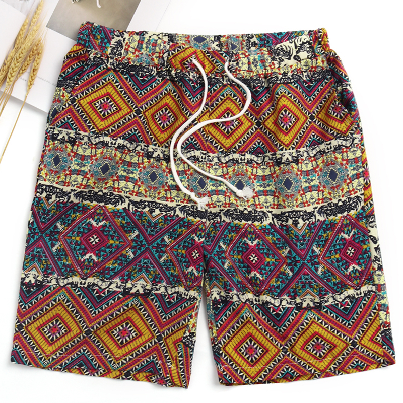 INCERUN Casual Shorts Men Print Streetwear Vintage Ethnic Men Shorts Cotton Drawstring Summer Bermuda Hawaiian Shorts Plus Size
