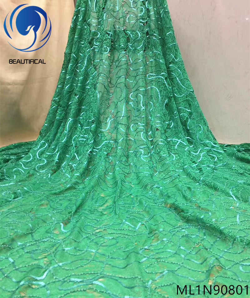 Beautifical African lace fabrics net lace beaded nigerian sequins fabrics for clothes high quality frnech lace fabric ML1N908Beautifical African lace fabrics net lace beaded nigerian sequins fabrics for clothes high quality frnech lace fabric ML1N908