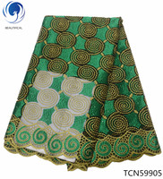 BEAUTIFICAL Special offer african net mesh fabric french lace fabric good quality yellow french tulle fabric for clothes TCN599