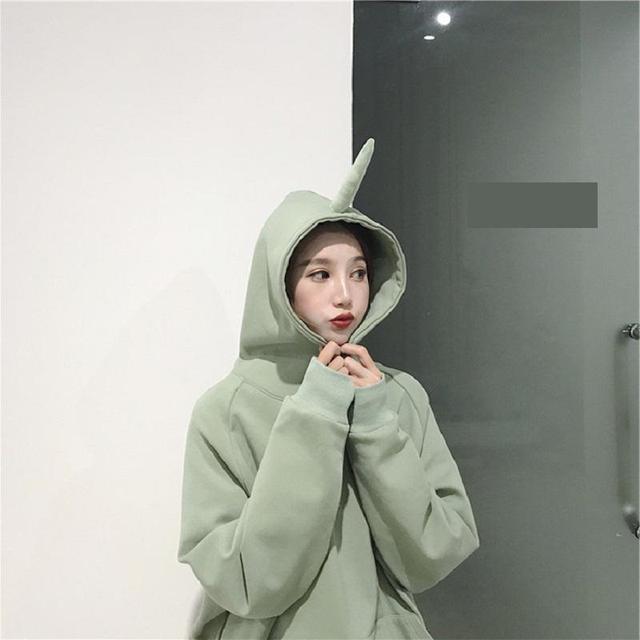 75e5b73bc6 Winter Pure Color Hoodies Women Loose Teletubbies Ears Harajuku Long  Sleeves Oversized Sweatshirt And Pullovers Kawaii Bts Kpop