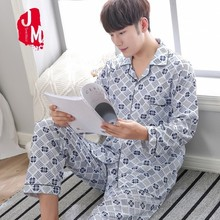 Men Pyjama Set 100% Cotton Spring Pajama Suit Plaid Full Sleeve Male Two Piece Nightwear Sleep Big Size L XL XXL XXXL