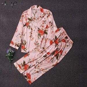 Image 3 - Polka Dot baskı Pijama seti 2019 bahar Pijama ipek uzun kollu Pijama setleri kadınlar için pantolon ile saten baskı ev giyim Feminino