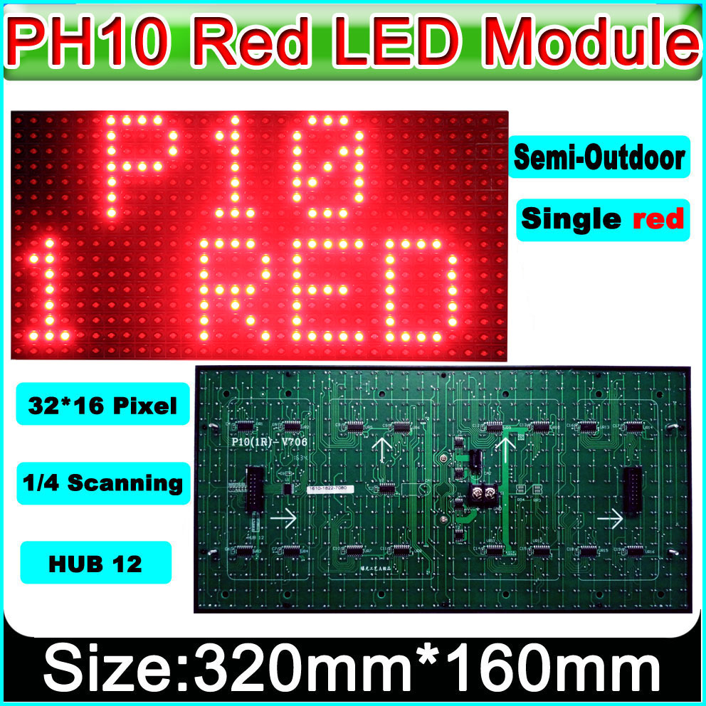 2018 NEW P10 Semi-outdoor LED Display Module,Red,Message Board,Brand Sign High Brightness Electronic Moving Text