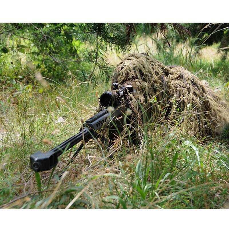 Das Mulheres dos homens Ao Ar Livre CS Grama Biônico Sniper Ghillie Suit Camuflagem Tático Define Capuz Rifle Cobre Caça Roupas de Combate Na Selva