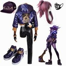 KDA Akali Disfraz de Cosplay LOL game KDA para mujer, traje de mujer, abrigo, pantalones, guantes, bolsa, peluca, sombrero, pendientes, Conjunto grande hecho a medida