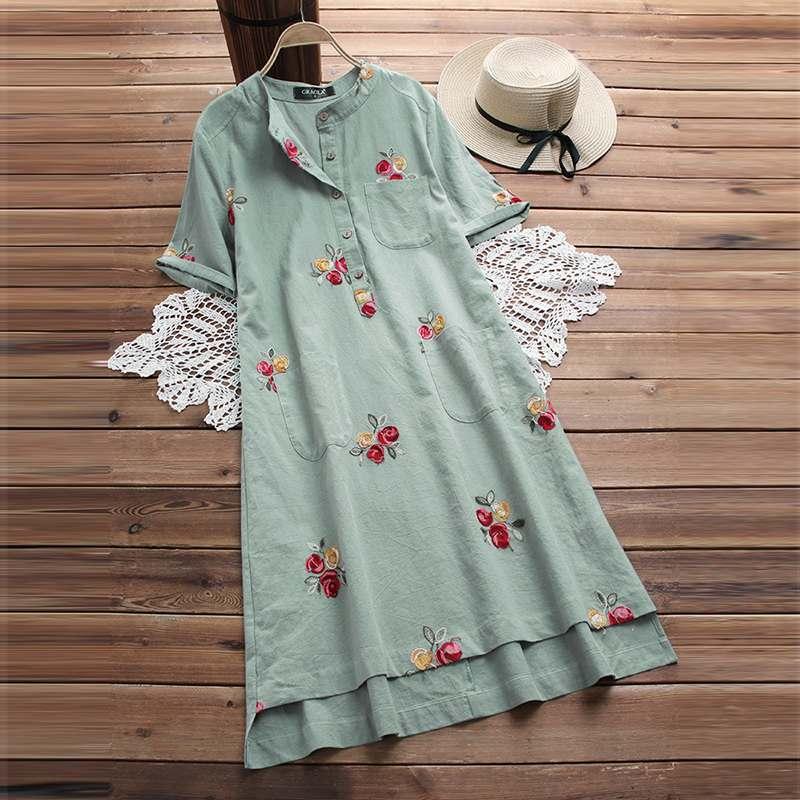 M 5XL 2019 Summer Embroidery Long Shirt Dress Casual Short Sleeve Cotton Linen Loose Sundress Women Vintage Party Vestido Femme