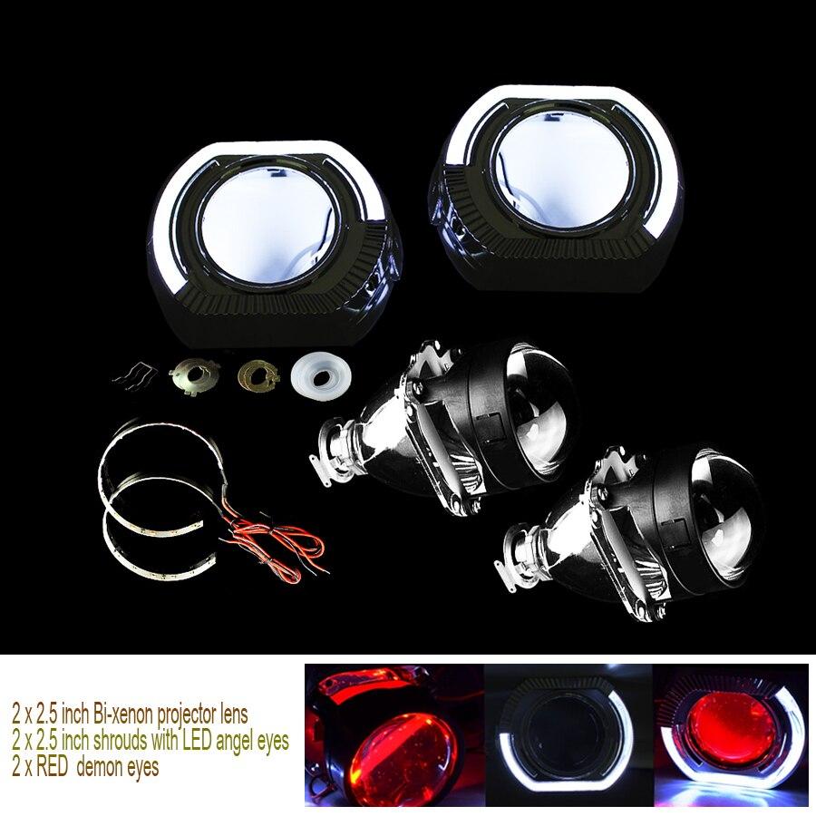 Projecteur de lentille au xénon Bi 2.5 pouces LED blanc yeux d'ange + yeux de démon rouge pour Kit d'assemblage de voiture de modification H4 H7