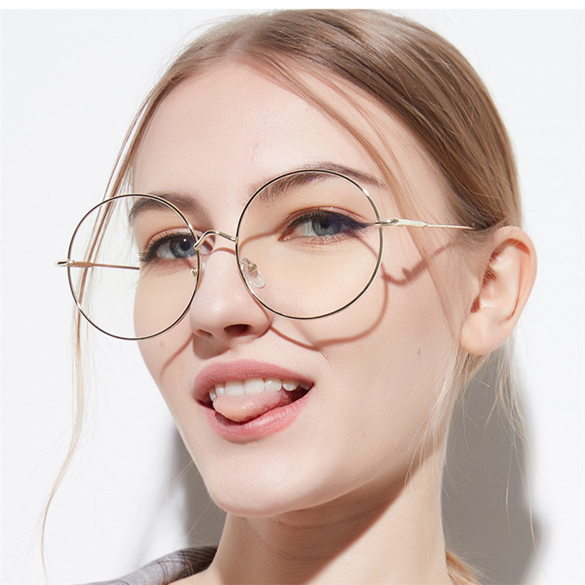 XojoX Oversized Round Glasses Frame Women Men Fashion Transparent Glasses Unisex Metal Spectacle Optical Eyeglasses Frames