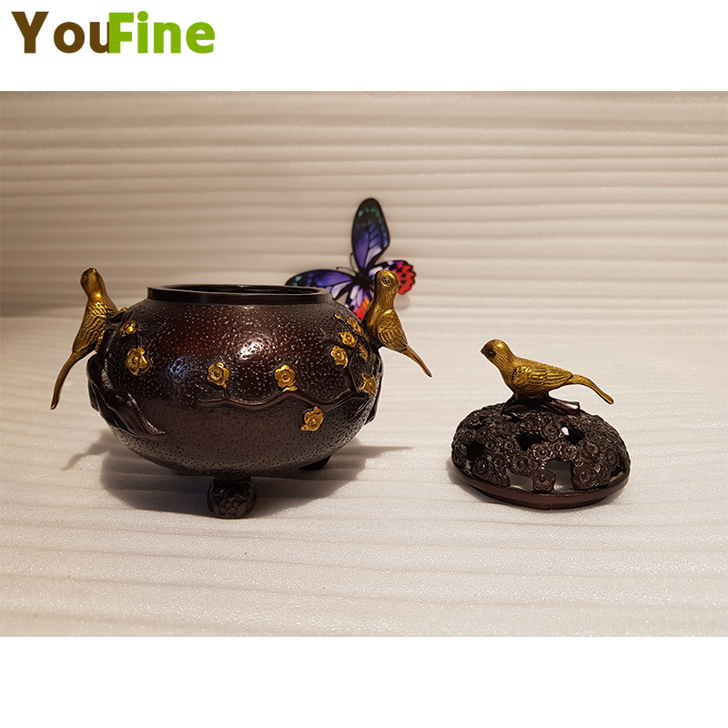 Retro Chinese style bronze bird incense burner decoration Buddhist office gift good traditional traditional method in Statues Sculptures from Home Garden
