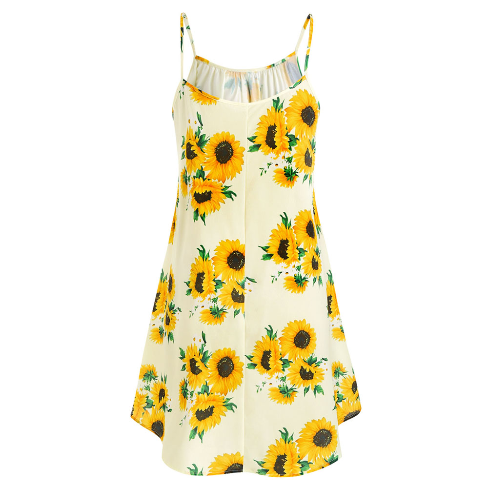 Plus Size Sunflower Print Dress With Front Knot A-Line Spaghetti Strap Two  Piece 5XL 100% Polyester