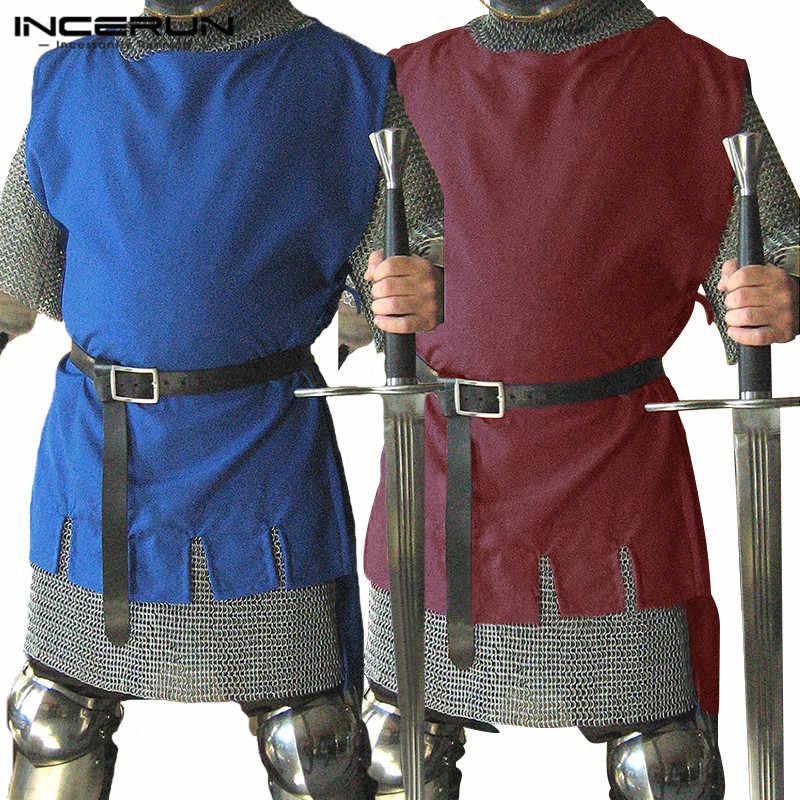 INCERUN Medieval Men Knight Viking Tabard Warrior Shirt