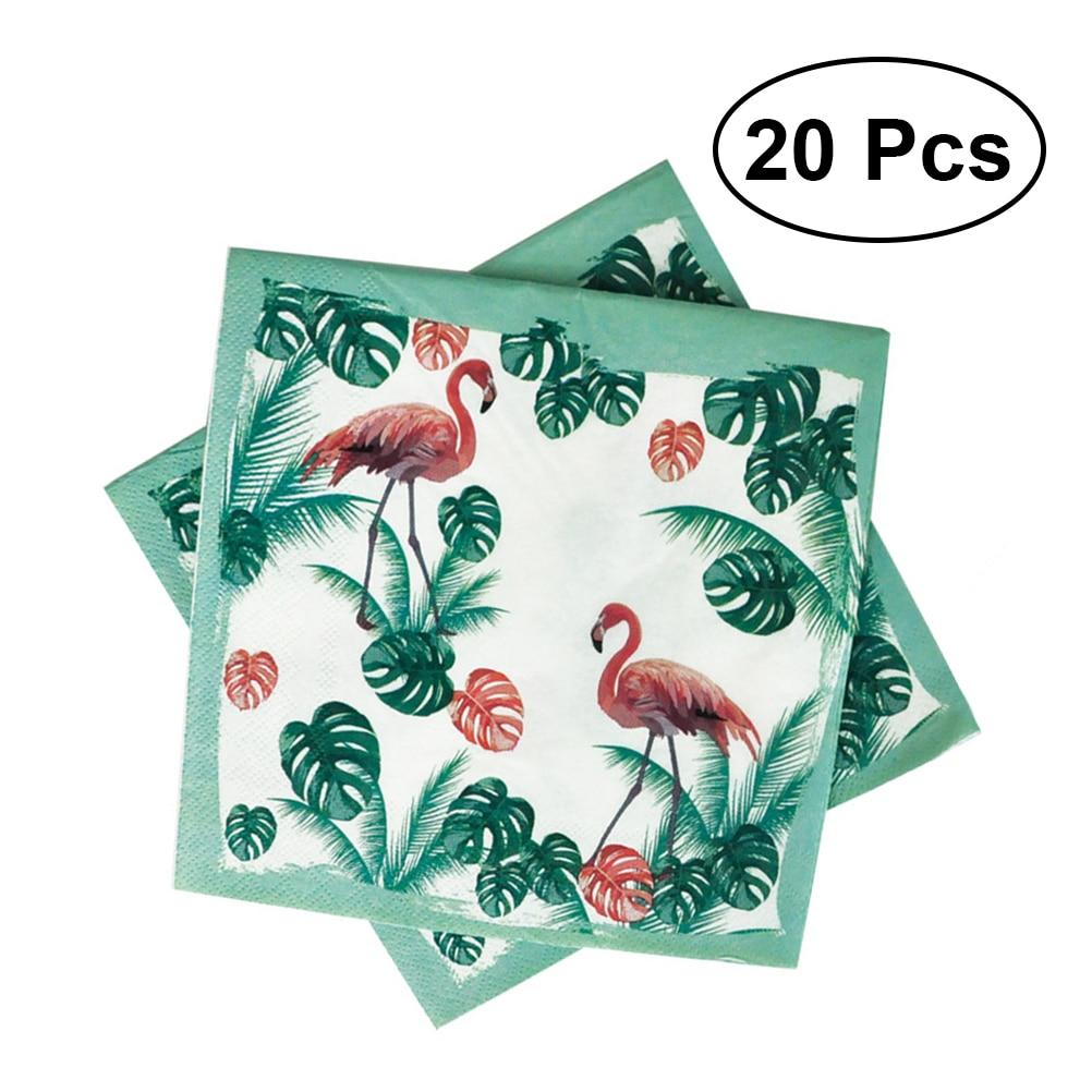 20 Stks Cartoon Gedrukt Papier Kleurrijke Servet Flamingo Zomer Tissue Papieren Handdoek Voor Festival Party Verjaardag Bruiloft Modieuze (In) Stijl;