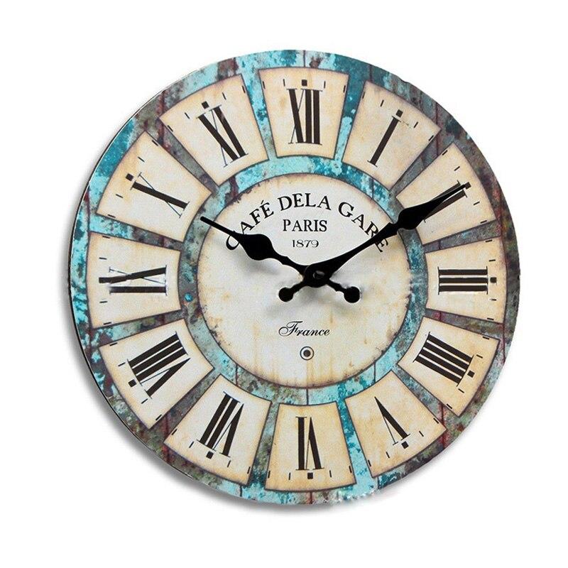 Rodada do vintage Relógio de Parede Moderno Relógio de Quartzo Horloge Retro Wathces Transporte da gota Relógio de parede de Decoração Para Casa Sala de estar