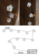 Christmas Lights Mini House Shape 10 LEDs Copper Wire String Light For Wedding Xmas Party Patio Fairy String Light