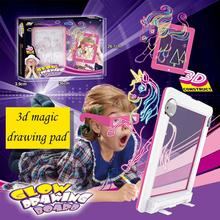 3D Magic Drawing Pad Board Childrens LED Stereo Coloring Mat Kids Educational Toy Gift