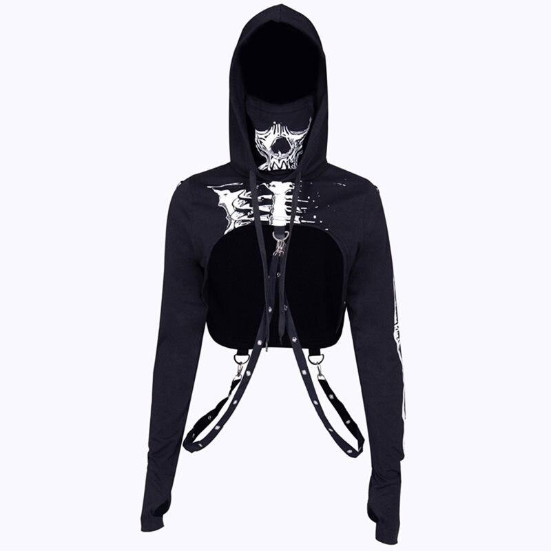 Rosetic Women 3D Skull Print Hoodie Sweatshirt Drawstring Hooded Top Goth Casual Streetwear Cool Sexy Navel Cropped BlackHoodies
