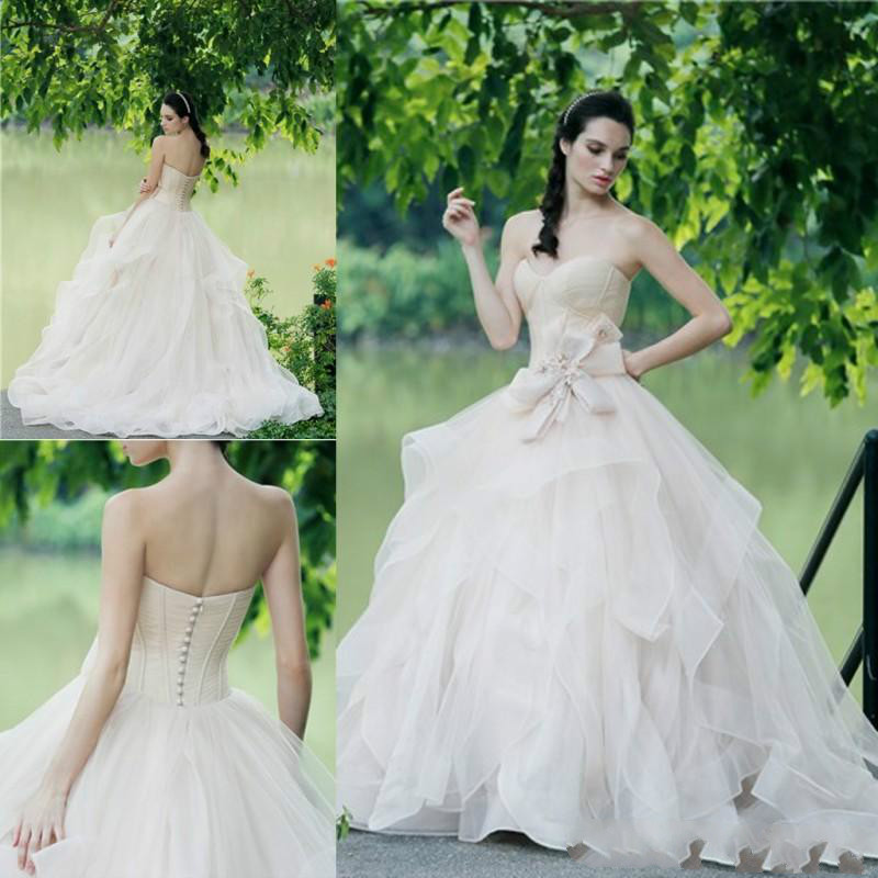 Tiered Wedding Gown: Nude Color Sweetheart Wedding Dresses 2018 Summer Tiered