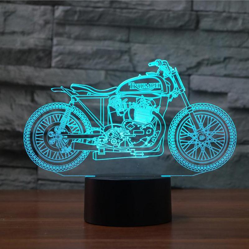 Motorcycle 3d Lamp Colorful Touch Led Visual  Led Night Light Gift Atmosphere Table Lamp Christmas Gift Children's Toys
