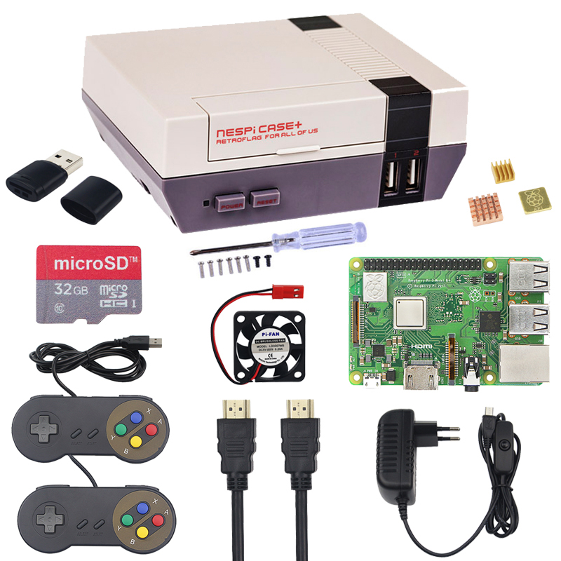 New Raspberry Pi 3 Model B+ Plus NESPi CASE+ Starter Kit + 32GB SD Card + 3A Power Adapter + Gamepad + Heatsinks + Fan + HDMI New Raspberry Pi 3 Model B+ Plus NESPi CASE+ Starter Kit + 32GB SD Card + 3A Power Adapter + Gamepad + Heatsinks + Fan + HDMI