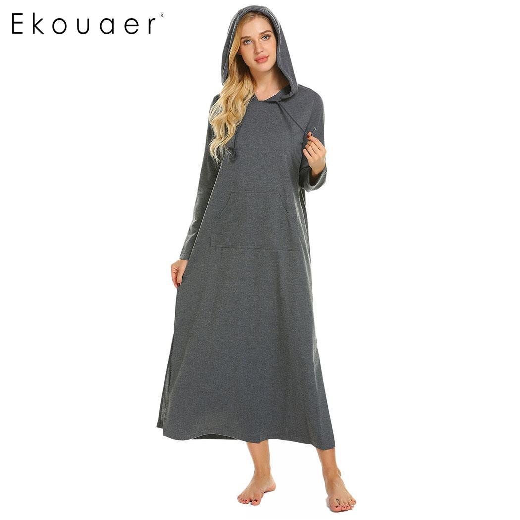 Ekouaer Women Long Nightdress Casual Solid Split Hem O-Neck Long Sleeve Hooded   Nightgown     Sleepshirt   Female Sleepwear Dress