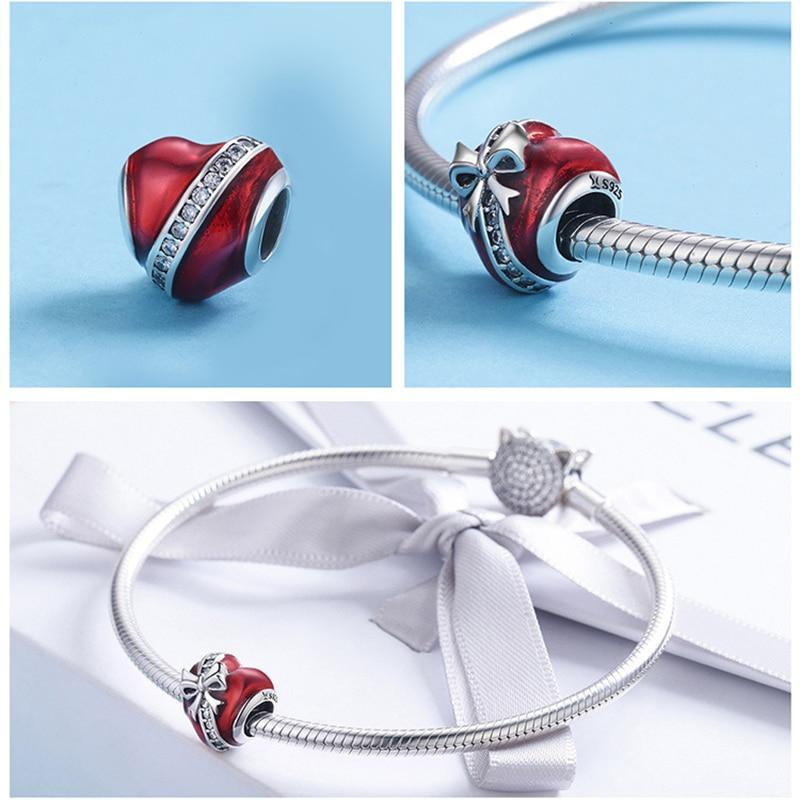 ProYearn 925 Sterling Silver Heart Shape Zircon Jewelry Beads for Women DIY Charms Gemstones Jewelry Gift Silver S925 Jewelry in Beads from Jewelry Accessories