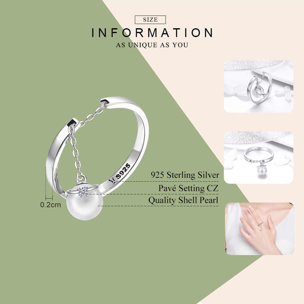 WOSTU Аутентичные 100% Серебро 925 пробы уникальный элегантный кольца для влюбленных с имитация жемчуга, для плетения браслетов, Для женщин S925 Серебряные ювелирные изделия Роскошная бумажная коробка подарка CQR459