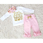 Newborn Infant Baby Girls First Birthday Tops Letter T-shirt+ Bowknot Leggings Pants Outfit Set Clothes