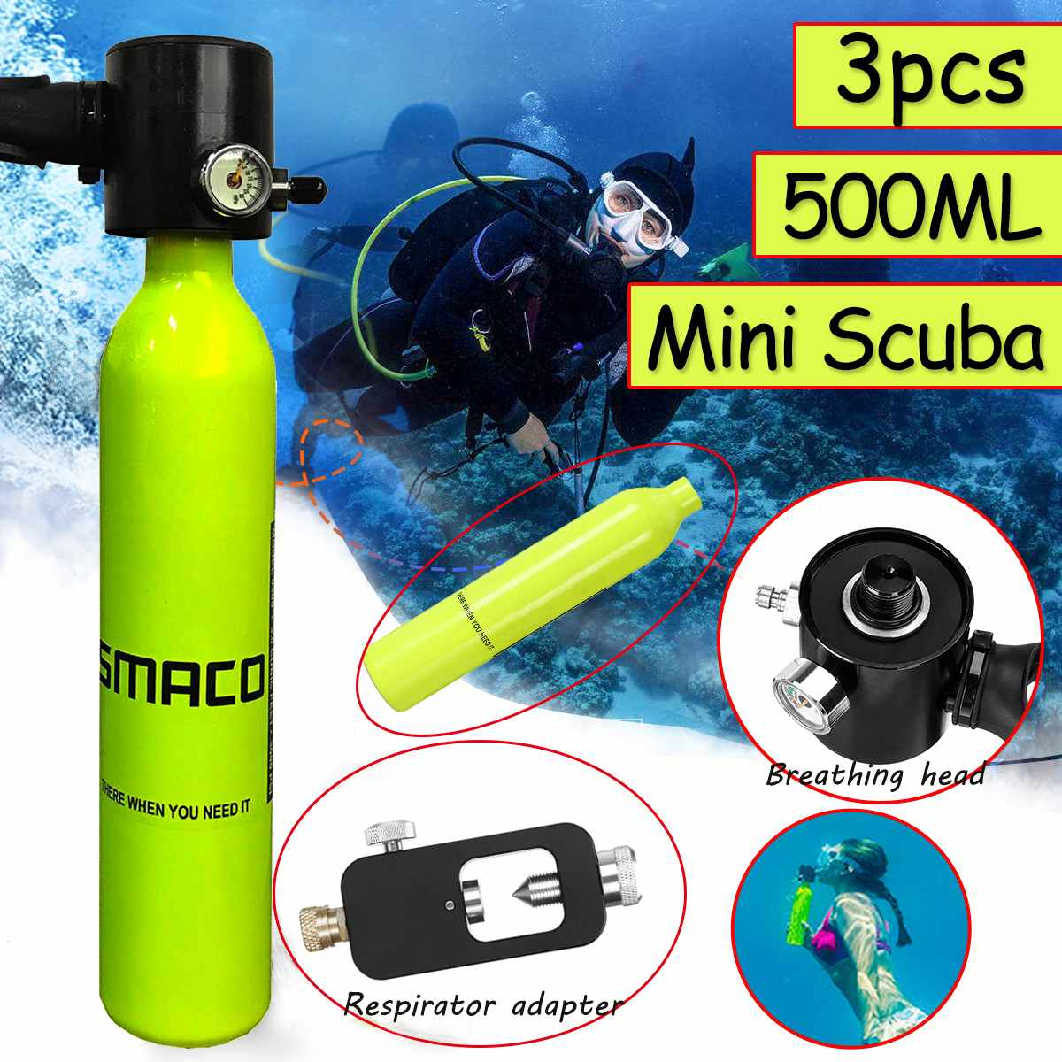 For 7-10min Mini Scuba 0.5l Potable Diving Equipment Mini Scuba Diving Cylinder Diving Oxygen Tank