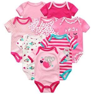 Image 2 - Summer Baby Clothes 8Pcs Newborn GIrl Romper roupas de bebe Cotton Baby Boy Jumpsuits Short Sleeve Baby Onesies Clothing