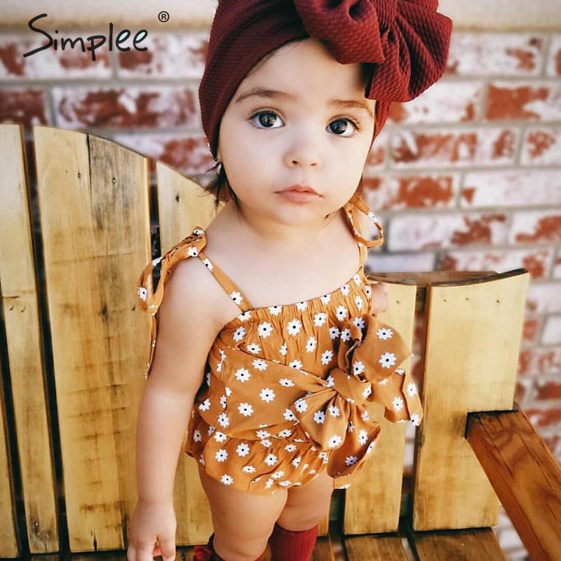 Sommer Floral Baumwolle Neugeborenen Baby Mädchen Romper Spitze Up Fliege Infant Insgesamt Overall Casual Nette Strap Kinder Kleidung Outfit