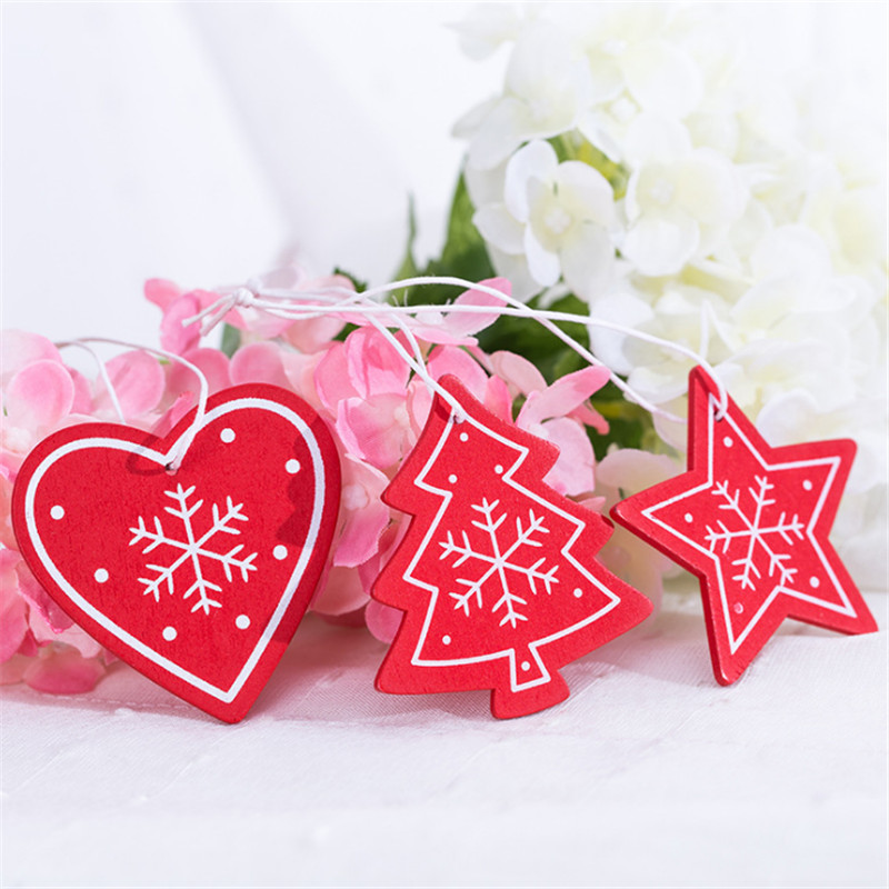 10pc DIY Tree/Heart/Star Wooden Christmas Pendants Ornaments for Christmas Decoration Xmas Tree Ornaments Kid New Year Navidad-S