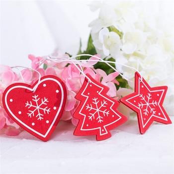 10pc DIY Tree/Heart/Star Wooden Christmas Pendants Ornaments for Christmas Decoration Xmas Tree Ornaments Kid New Year Navidad-S