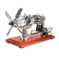 External Combustion Stainless Steel 16 Cylinder Hot Air Stirling Engine Motor Model Creative Motor Engine Toys Silver Color