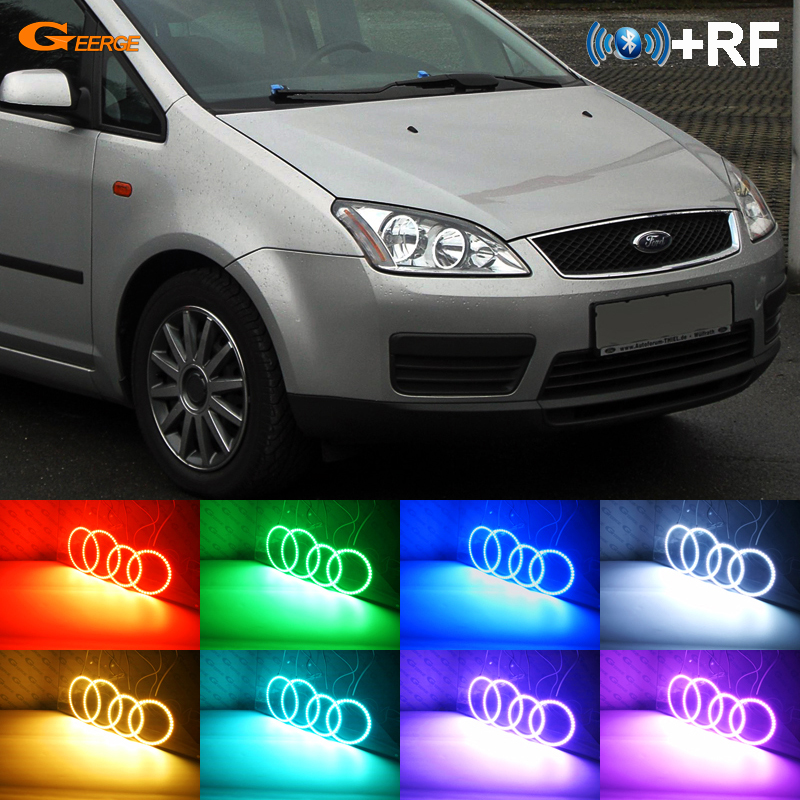 For Ford Focus C Max 2003 2004 2005 2006 2007 Halogen Headlight Rf Bluetooth Controller Multi Color Rgb Led Angel Eyes Kit In Car Light Embly From