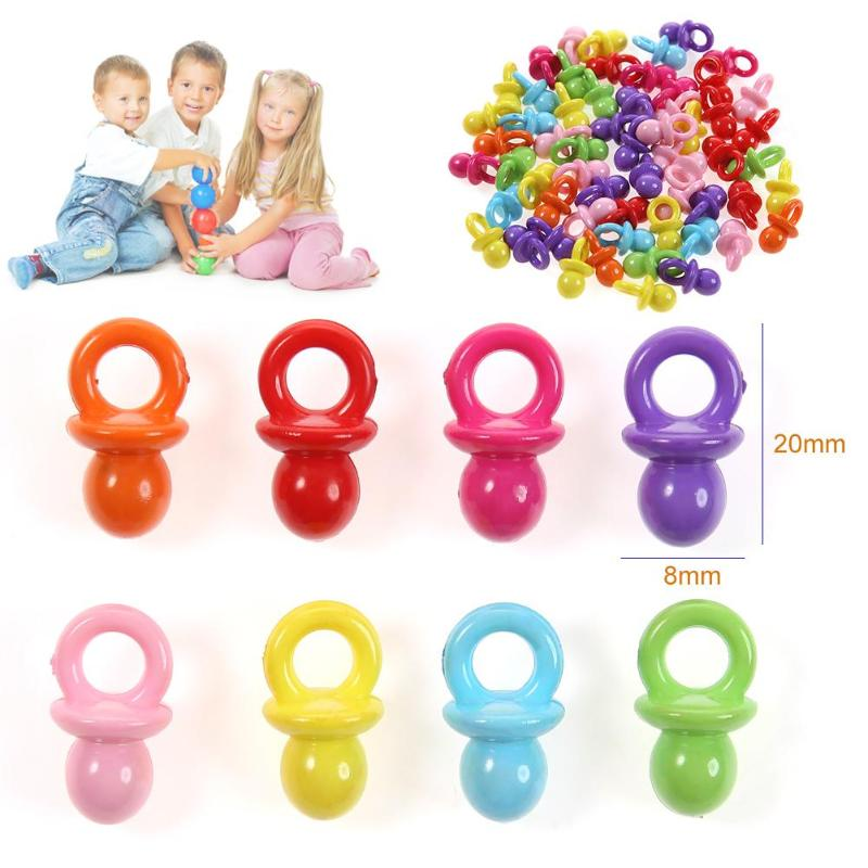 Dummy Clips 50 x Mixed Colour Plastic Baby Bottle Charms BABY SHOWER