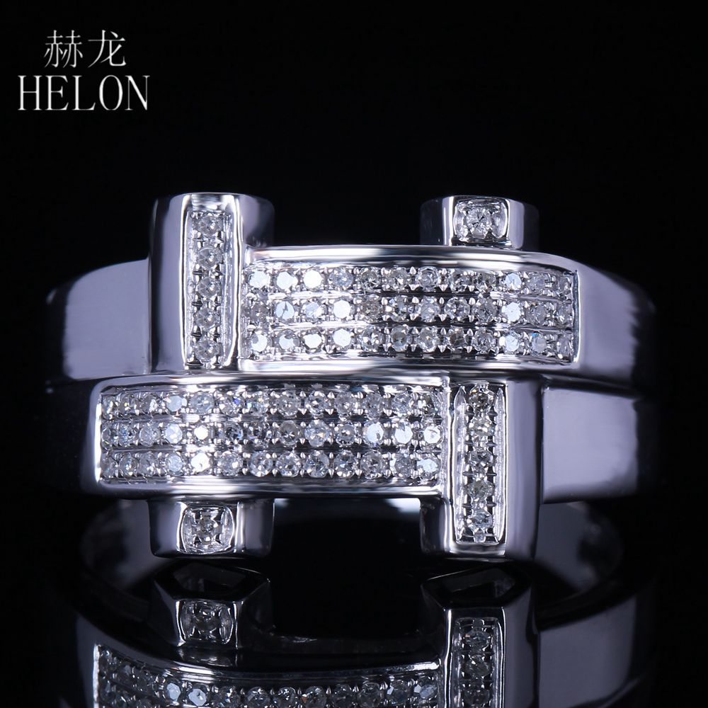 HELON New Finish Mens Real Diamond Ring Sterling Silver 925 Engagement Fashion Band Pave Natural Diamonds