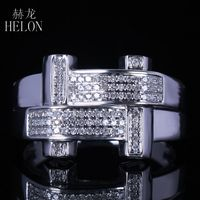 HELON New Finish Mens Real Diamond Ring Sterling Silver 925 Engagement Fashion Band Pave Natural Diamonds Anniversary Men's Ring