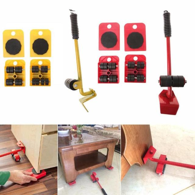 Furniture Mover Tool Set Transport Lifter Heavy Stuffs Moving 4 Wheeled Roller