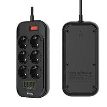 Power Strip EU Plug 2500W 250V,2m Cable,Wall Multiple Socket Portable 6 Outlet 4 USB Port for Mobile Phones Smartphones Tablets