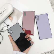 Candy Colors Square Phone Case For iPhone X Xs max XR  7 8 Plus Luxury Silicone TPU Plain Funda Coques