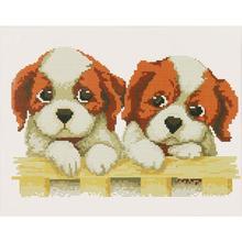 Милый комплект из двух Щенков Собак хлопковая нить вышивка крестом стежка вышивка-Шитье Сделай Сам Наборы домашний декор