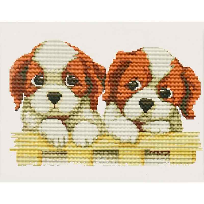 Cute Two Puppies Dog Cotton Thread Cross Stitch DIY Needlework Embroidery Kits Home Decor