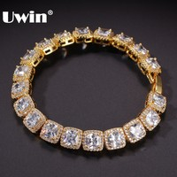 UWIN Charm Iced Bracelet Big Square Cubic Zirconia Hiphop Gold Silver Color Mens Bracelets 10mm Bling Bling Fashion Jewelry
