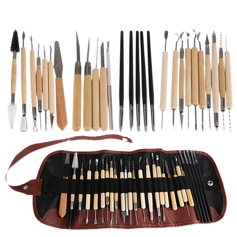 28Pcs Arts Crafts Clay Sculpting Tools Set Modeling Carving Tool Kit Pottery & Wooden Handle Modeling Clay Tools