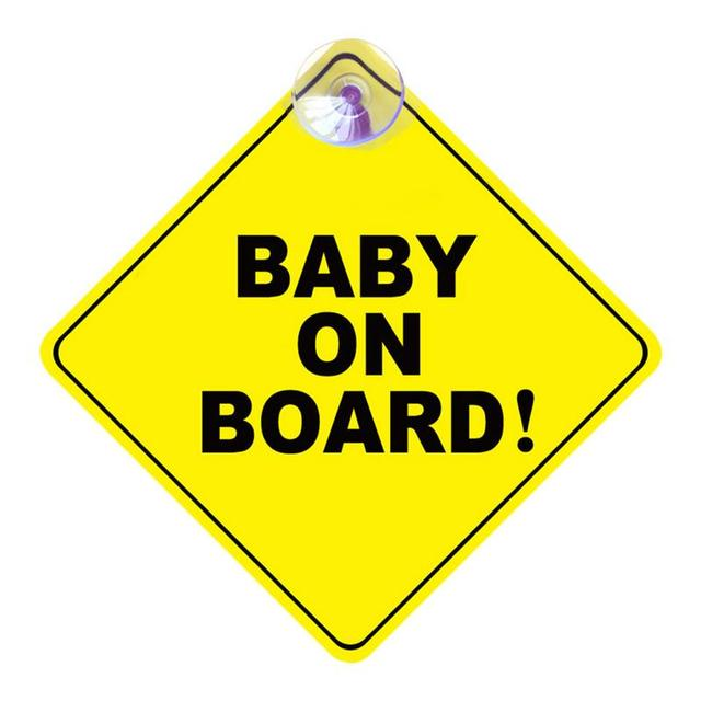 1mm Thickness Car Sticker BABY ON BOARD Baby Car Warning Signal Safety Sign Environmental Protection Suction Cup Style Sticker