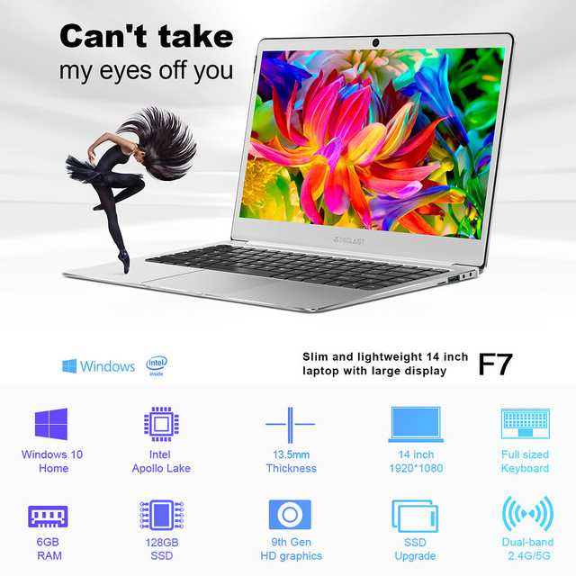 Teclast F7 Notebook Laptop PC 6GB RAM 128GB SSD 14inch FHD for Windows 10 Home English Version for Intel Core 100-240V