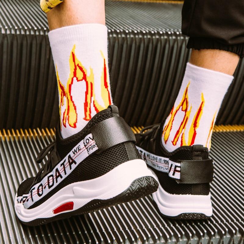 Men Fashion Hip Hop Sock Unisex On Fire Hipster Crew Socks Red Flame Blaze Power Torch Street Style Skateboard Cotton Long Socks
