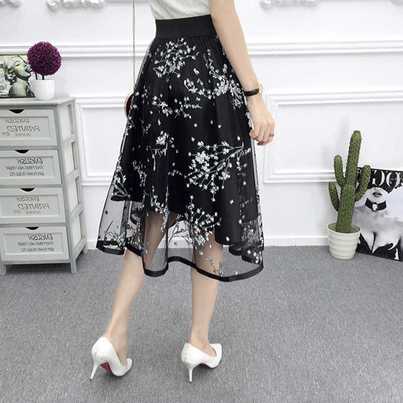 7382becff9aa0 1*Summer Women Mesh Skirt Fashion Floral Embroidered Ball Gown Tulle Skirt  78cm